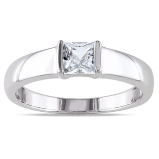 Miadora Men's Sterling Silver White Sapphire Ring