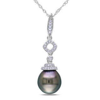 Miadora 14k White Gold Tahitian Pearl 1/10ct Diamond Necklace (G-H, I1-I2)