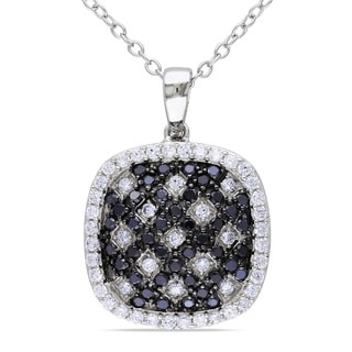 Miadora Sterling Silver Black and White Cubic Zirconia Necklace