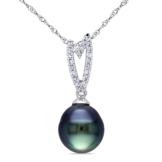 Miadora 14k White Gold Tahitian Pearl 1/10ct Diamond Necklace (I1-I2)