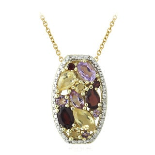 Glitzy Rocks Two-tone Multi-gemstone and Diamond Accent Necklace