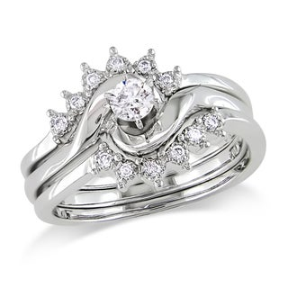 Miadora 14k White Gold 1/4ct TDW Diamond Bridal Ring Set (G-H, I1-I2)