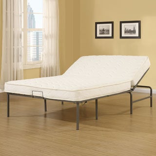 Recline-a-Bed Adjustable Metal Gray Frame and Queen-size Mattress Set