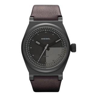 Diesel Men's Leather Band Black Dial Watch