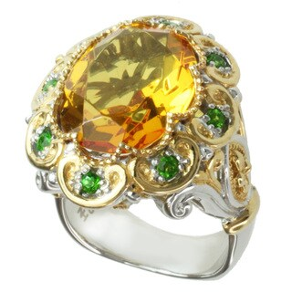 Michael Valitutti Two-tone Faceted Amber and Chrome Diopside Ring