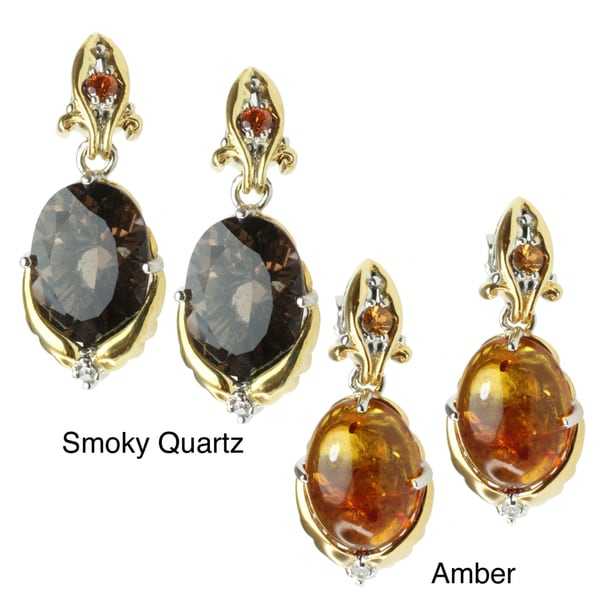 Michael Valitutti Two-tone Amber or Smoky Quartz Earrings