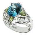 Michael Valitutti Silver Blue Topaz, Peridot and White Sapphire Ring