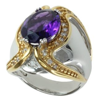 Michael Valitutti Two-tone Round Amethyst and White Sapphire Ring