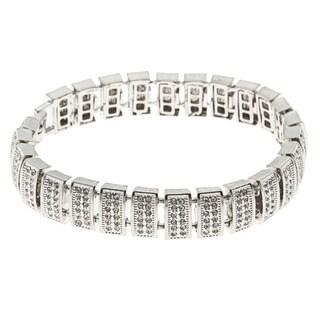 La Preciosa Silvertone Men's Crystal Bling Bracelet