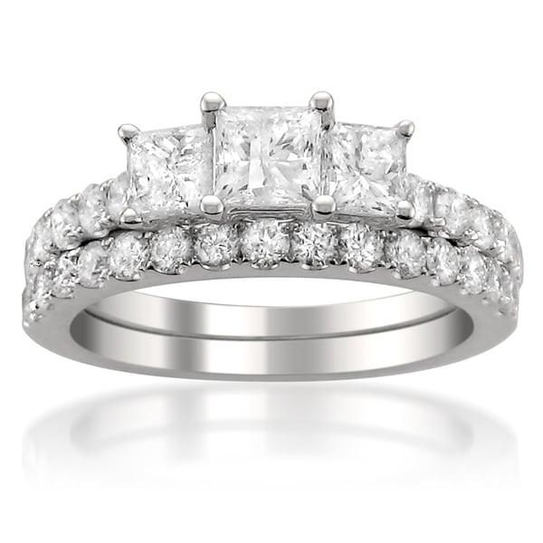 Montebello 14k White Gold 2ct TDW Princess-cut Diamond Bridal Ring Set (G-H, I1)