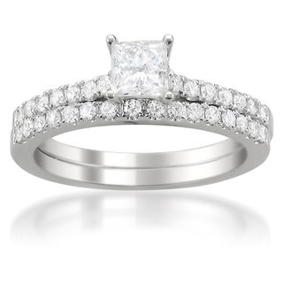 14k White Gold 1ct TDW Princess-cut Diamond Bridal Ring Set (G-H, I1)