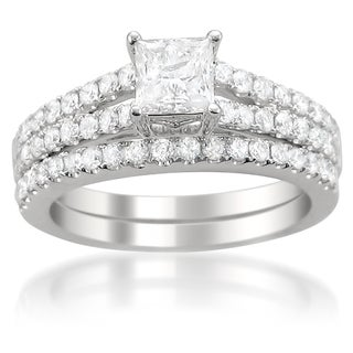 14k Gold 1ct TDW Princess-cut Diamond Bridal Ring Set (G-H, I1-I2)