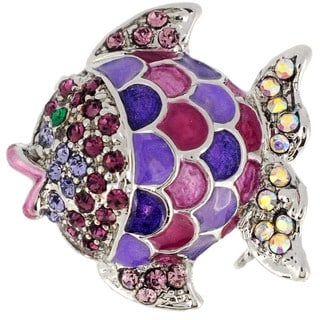 Silvertone Multi-colored Crystal Fish Brooch