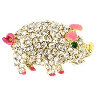 Goldtone Multi-colored Crystal Pig Brooch
