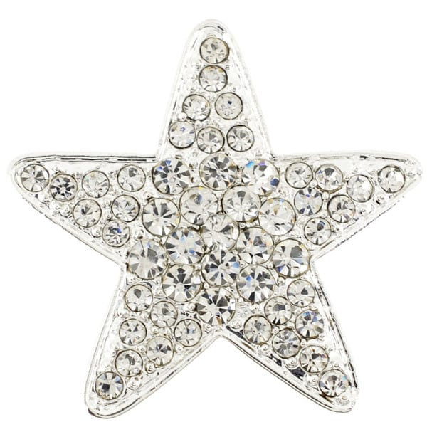 Silvertone Clear Crystal Star Brooch