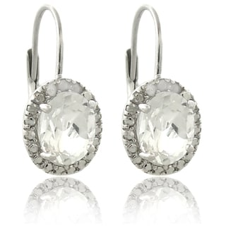 Dolce Giavonna Sterling Silver White Topaz and Diamond Accent Earrings