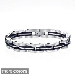High-Polish Stainless-Steel Men's Black Ion-Plated Link Bracelet