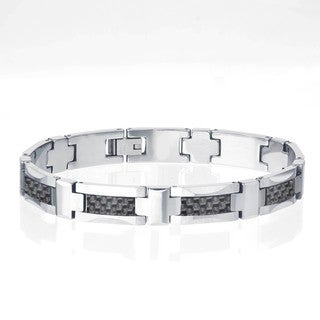 Tungsten Men's Black Carbon Fiber Inlay Bracelet