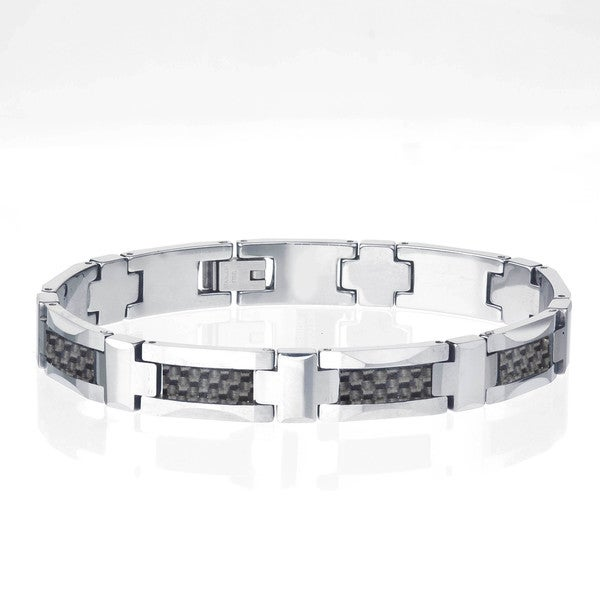 Tungsten Men's Black Carbon Fiber Inlay Bracelet