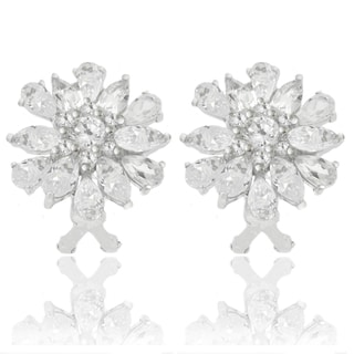 Dolce Giavonna Sterling Silver Cubic Zirconia Cluster Earrings