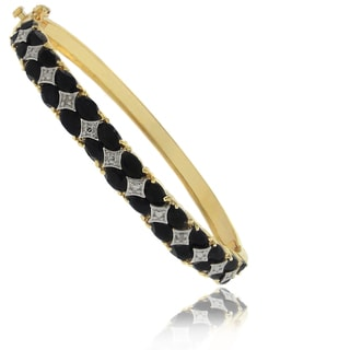 Dolce Giavonna 18k Gold over Silver Sapphire and Diamond Accent 2-row Bangle
