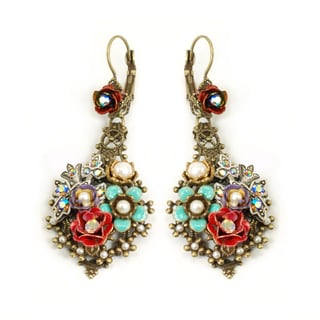 Sweet Romance Goldtone Glass and Enamel Rosarita Earrings