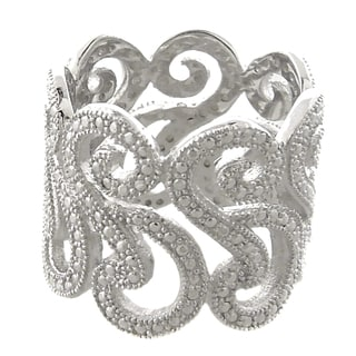 Finesque Silver Overlay Diamond Accent Swirl Design Wide Band