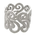 Finesque Silverplated Diamond Accent Swirl Design Wide Band