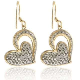 Finesque 18k Gold over Silver 1/10ct TDW Diamond Heart Dangle Earrings (I-J, I2-I3)