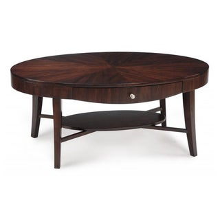 'Aster' Hazlenut Finish Oval Cocktail Table