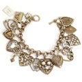 Sweet Romance Goldtone 'All My Love' Heart Charm Bracelet