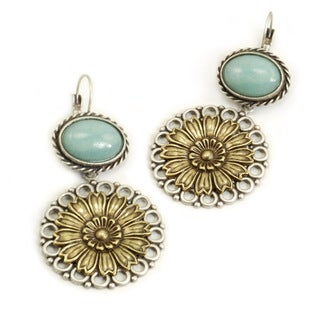 Sweet Romance Bronzetone Glass Daisies Earrings