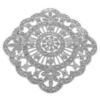Finesque Silver Overlay Diamond Accent Brooch