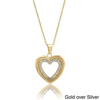 Finesque Sterling Silver 1/4ct TDW Diamond Heart Necklace (I-J, I2-I3)