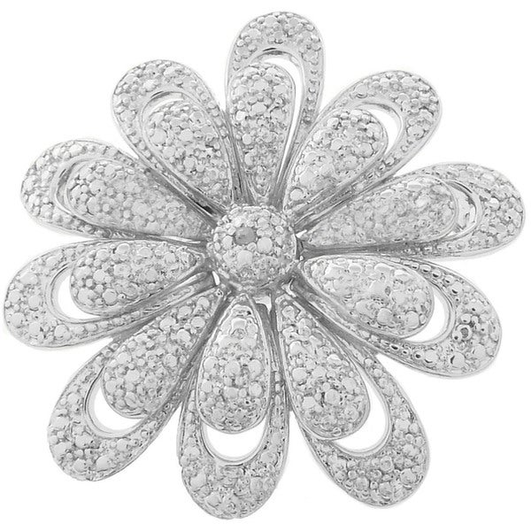 Finesque Silverplated Diamond Accent Flower Brooch