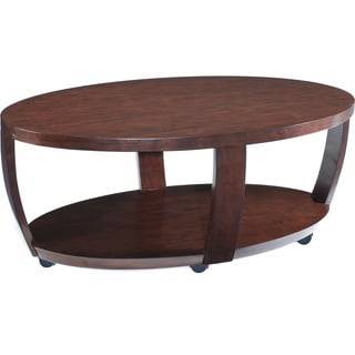 Sotto Sienna Wood Oval Open Cocktail Table