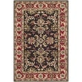Safavieh Handmade Heritage Kerman Chocolate Brown/ Red Wool Rug (3' x 5')