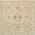 Handmade Majesty Blue-Grey/ Beige Wool Rug (6' Square)