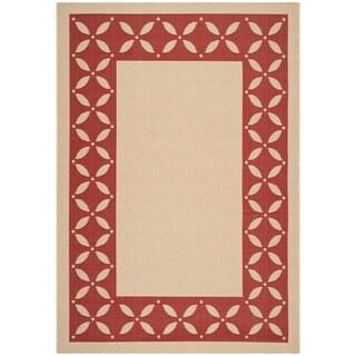 Martha Stewart Mallorca Border Cream/ Red Indoor/ Outdoor Rug (4'x 5'7)