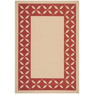 Martha Stewart Mallorca Border Cream/ Red Indoor/ Outdoor Rug (6'7 x 9'6)