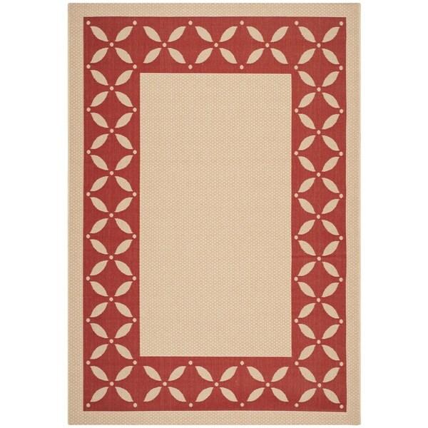 Martha Stewart Mallorca Border Cream/ Red Indoor/ Outdoor Rug (6'7 x 9'6)