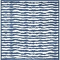 Handmade Children's Stripes Ivory/ Blue Cotton Rug (6' Square)
