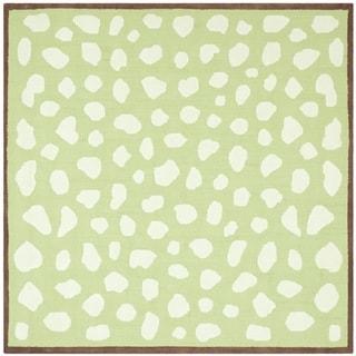 Handmade Children's Safari Green/ Ivory Cotton Rug (6' Square)