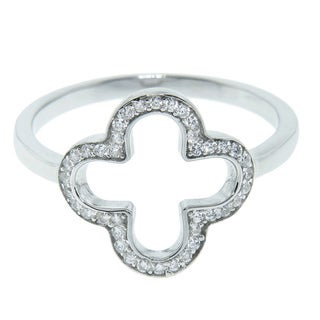 Eternally Haute Sterling Silver Pave Cubic Zirconia Clover Ring
