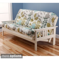 Beli Mont Multi-Flex Futon Frame in Antique White Wood with Innerspring Mattress Set