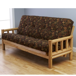 Somette Aspen Lodge Natural Full-size Futon Frame with Autumn Leaf Innerspring Mattress Set
