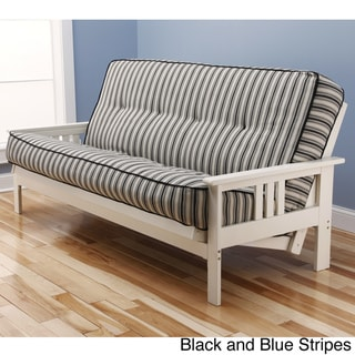 Beli Mont Multi-Flex Antique White Wood Futon Frame with Innerspring Mattress Set