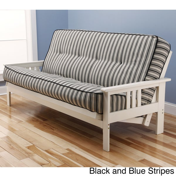 White Wood Frame : ... -Flex Antique White Wood Futon Frame with Innerspring Mattress Set