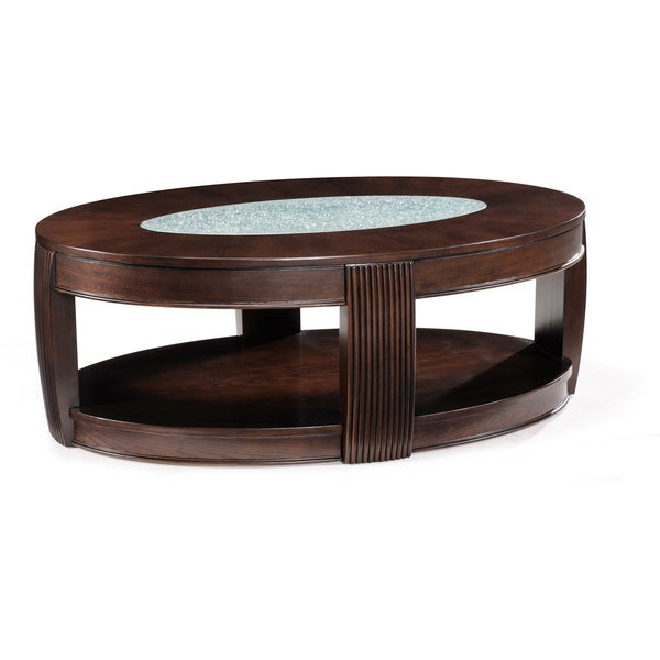 'Ino' Wood and Glass Oval Cocktail Table