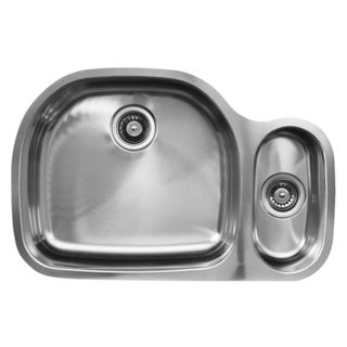 Ukinox D537.80.20.10L 80/20 Double Basin Stainless Steel Undermount Kitchen Sink
